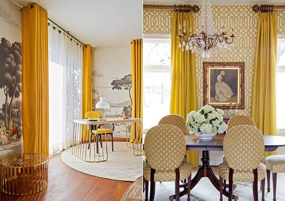 wohnzimmer modern mit gelben gardienen, holzfußboden, teppich beige und tapeten