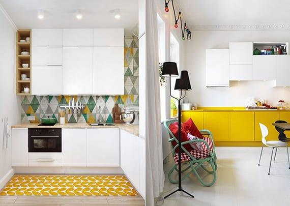 kreative raumgestaltung für kleine küchen weiß mit gelben küchenschrönken und teppich oder fliesen in gelb