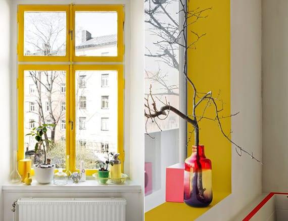 coole raumgestaltung und streichen idee für fenster mit farbe gelb