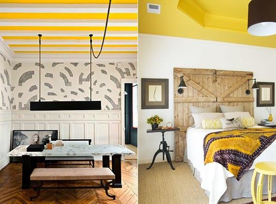 coole deckengestaltung durch abgehängte Decke und farbe gelb als innendesign inspiration für wohnzimmer mit parkett und esstisch aus marmor oder als idee für rustikale schlafzimmer mit diy bettkopfteil aus holztüren