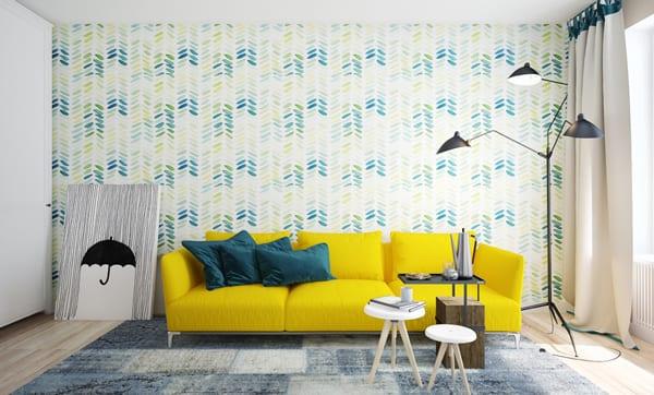 raumkonzepte für wohnzimmer mit sofa gelb und tapete und teppich mit blauen muster
