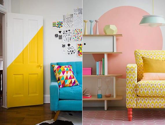 coole streichen ideen für tür und wand_sonnige raumgestaltung mit sofa in hellgelb und teppich in hellrosa