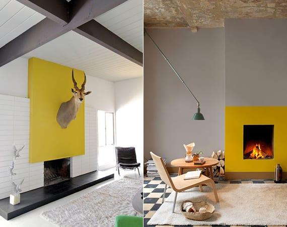 gelbe wand als akzentwand im wohnzimmer mit kamin_farbgestaltung in gelb und weiß und in gelb und taupe