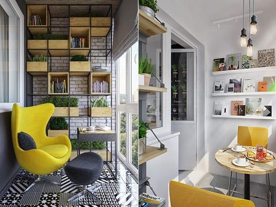 coole einrichtungsideen in gelb und grau für balkons