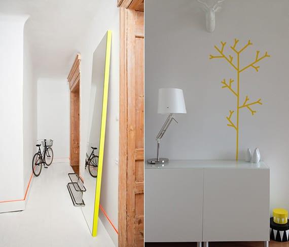 wandtattoo baum in gelb und spiegelrahmen gelb für modernes innendesign im flur und wohnzimmer mit weißen wänden und sideboard weiß