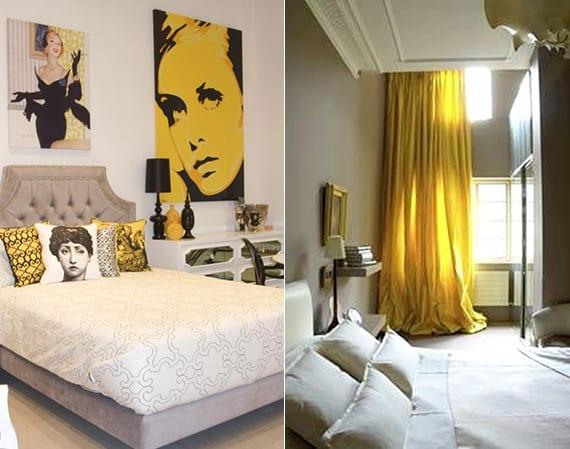 schlafzimmer einrichtungsideen mit gelben vorhängen und Bildern und farbgestaltung in weiß und beige