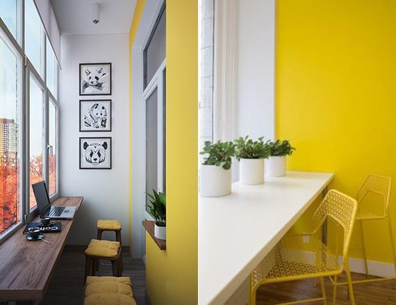 wandfarbe gelb für balkongestaltung