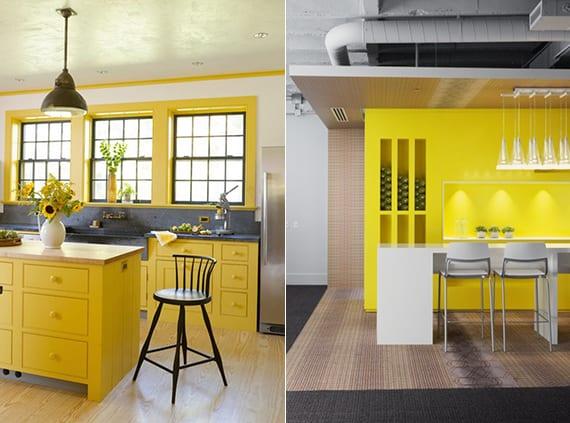 holzküche gelb oder moderne küchengestaltung mit küchenwand gelb und esstisch mit stühlen in weiß