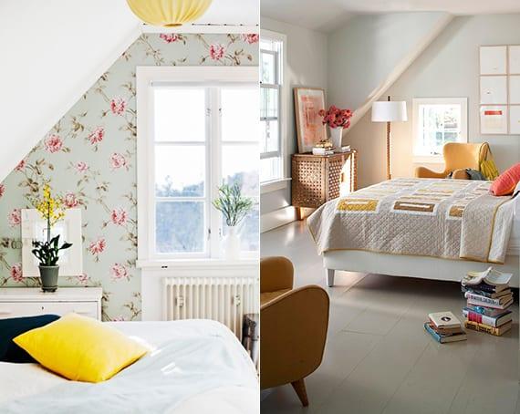 schlafzimmer mit dachschräge kreativ gestalten durch tapete mit blumenmotiv,helle wandfarben und gelbe akzente