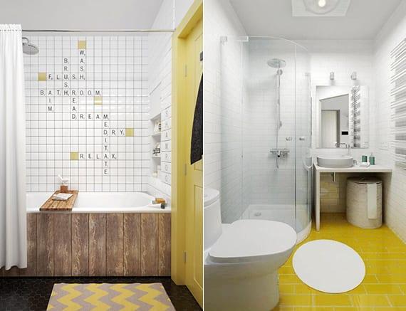 badezimmer ideen mit gelben fliesen und holzstür gelb