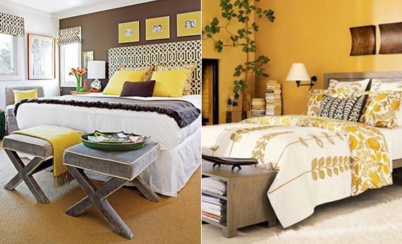 schlafzimmer gestalten mit wandfarbe braun, grauen Hocker vor dem bett und bettkopfteil in schwarzweiß oder mit wandfarbe gelb und bettbezug weiß mit gelben blumen