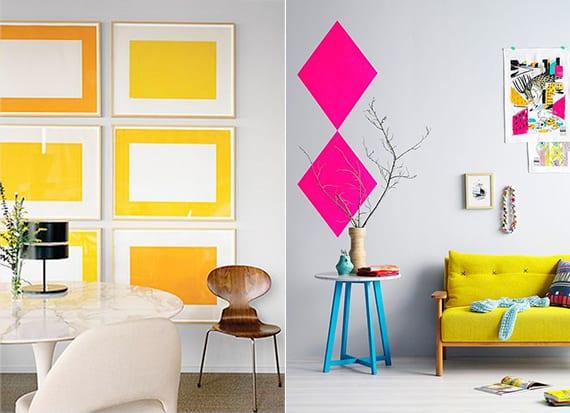 wandgestaltung mit gelben bildern oder geometrische formen in leuchtenden farben_raumgestaltung in gelb, pink und blau