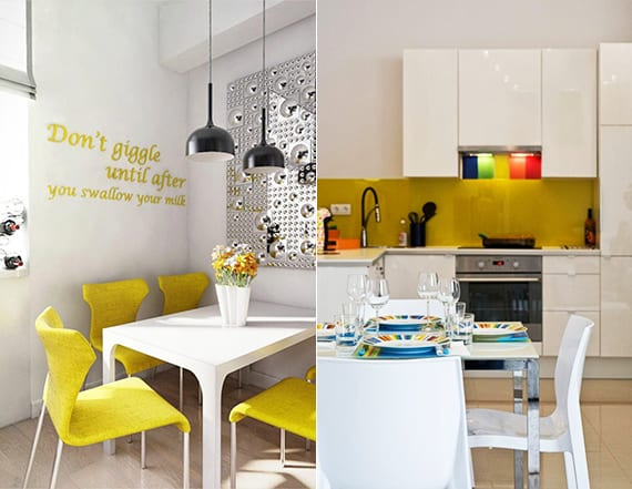 einrichtungsideen für weiße küchen mit akzent in gelb in form von stühlen und küchenrückwand
