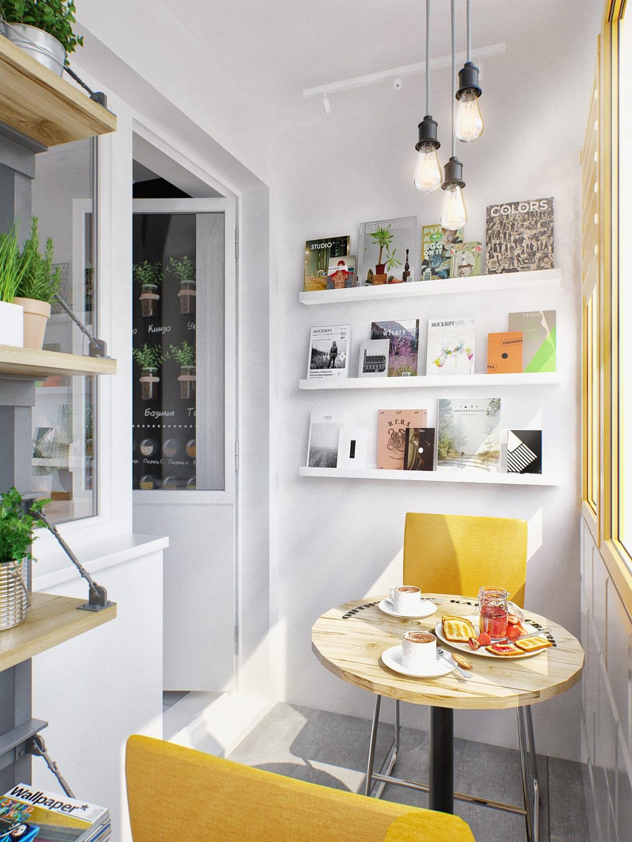 balkon kreativ gestalten mit weißen wandregalen und gelben stühlen und fensterrahmen