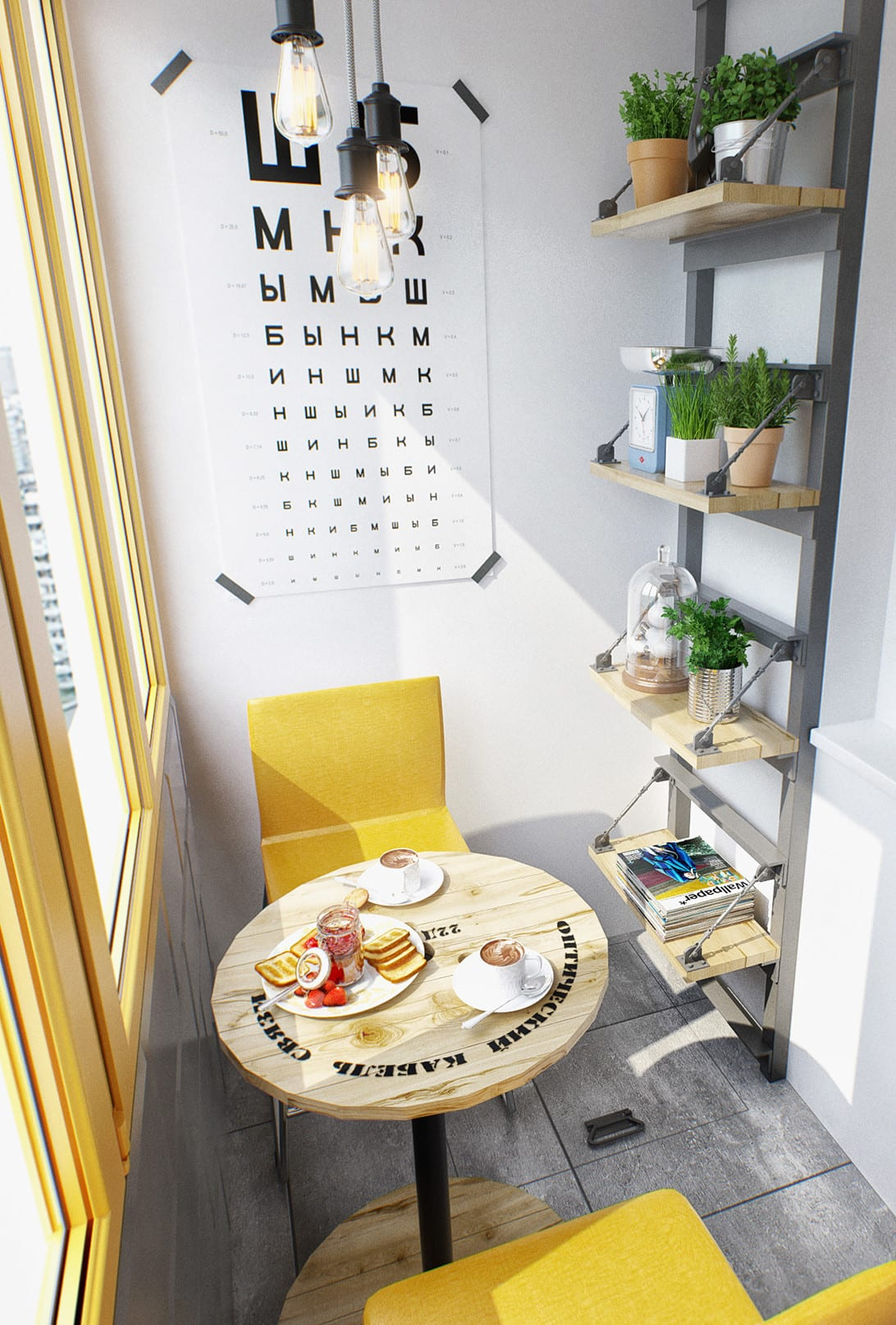 der kleine balkon kreativ einrichten mit rundtisch holz und wandregal aus metall und holz für dekoration mit pflanzen