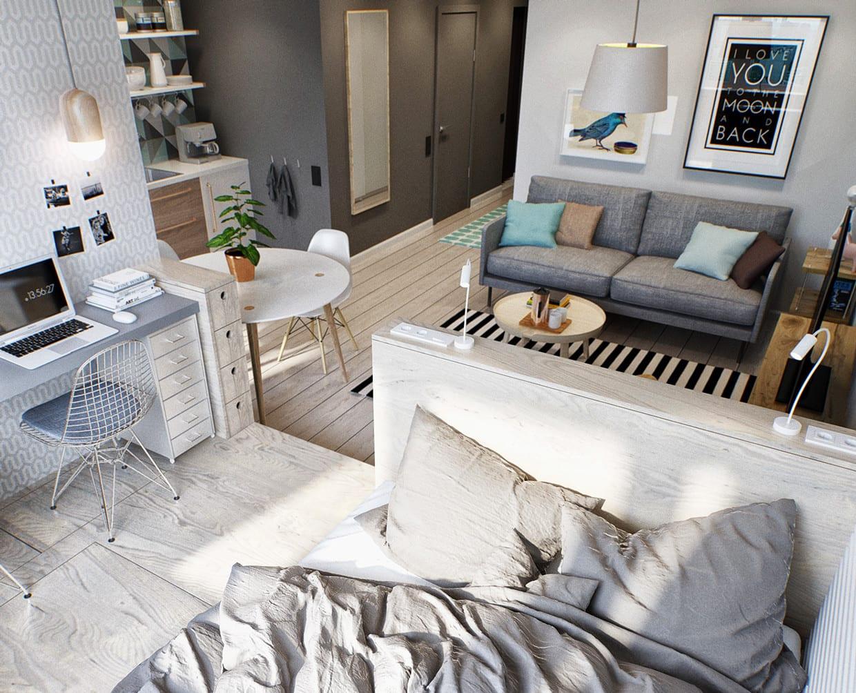 kleines schlafzimmer einrichten mit holzfüßbodenbelag und schreibtisch für zwei _beispiel für kleine wohnung einrichten