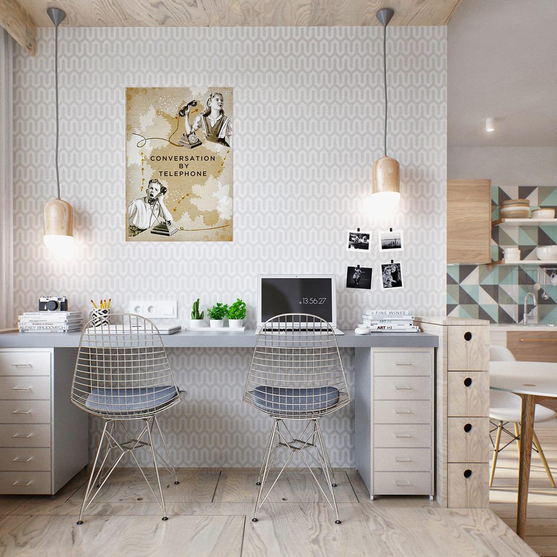 1 raum wohnung einrichten mit arbeitsplatz im schlafbereich mit holzdecke und tapete mit muster in weiß grau