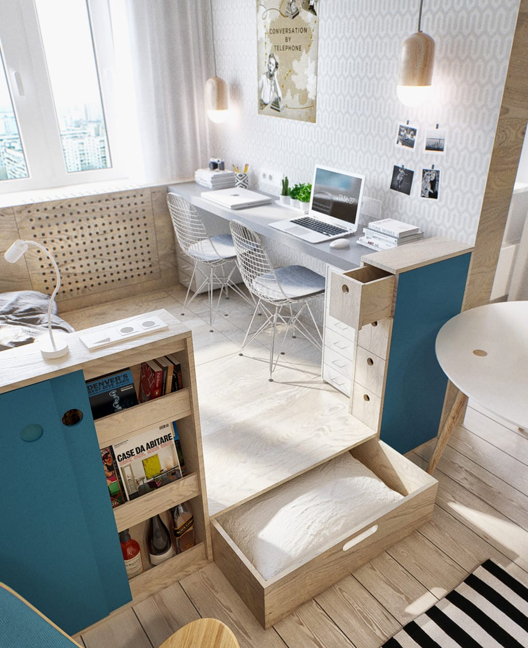 kleine wohnung mit loftbett auf Holzpodest mit schublade und doppelschreibtisch mit pendellampen als design inspiration für moderne einzimmerwohnungen