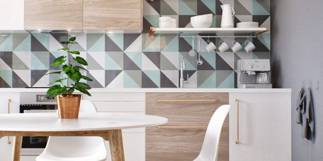 kleine wohnung modern und funktionell einrichten moderne k che in wei und holz mit grauer. Black Bedroom Furniture Sets. Home Design Ideas