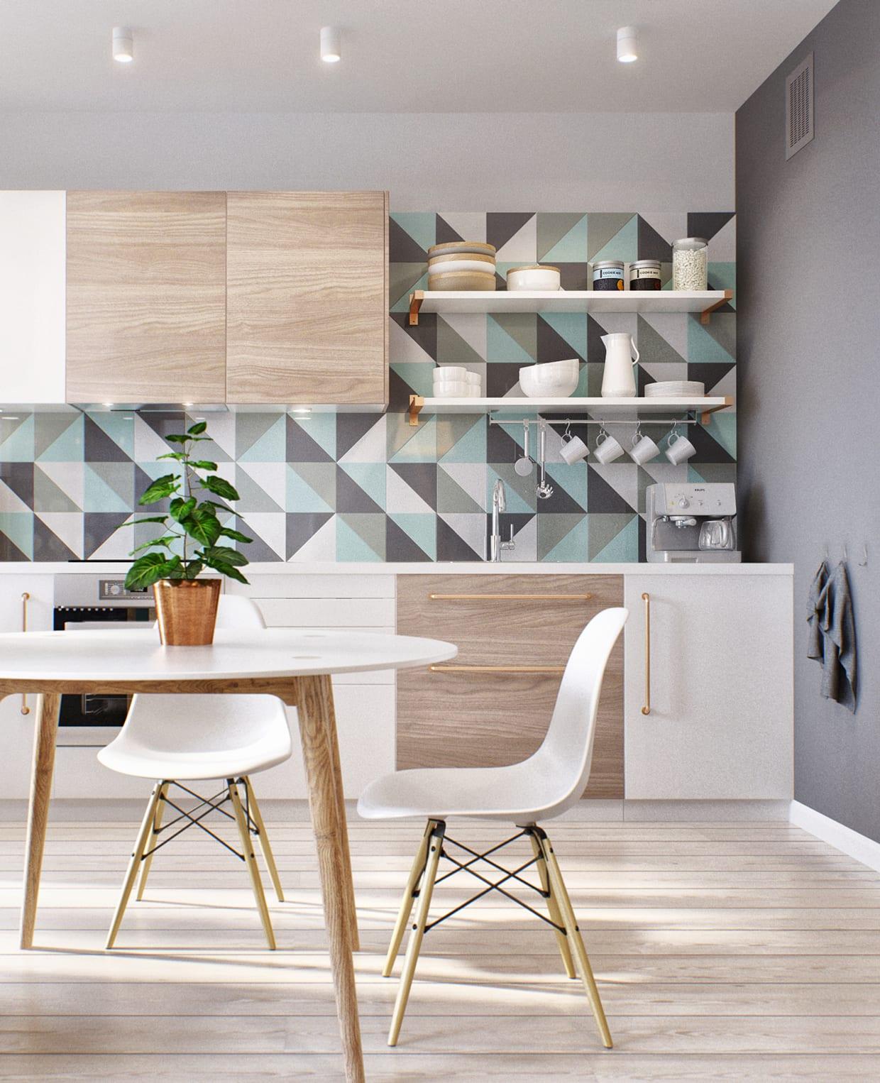einrichtungstipps und beispil für moderne küche mit wandfarbe dunkelgrau, küchenrückwand mit geometrisch gemusterten Fliesen und Küchenschränke in weiß und holz