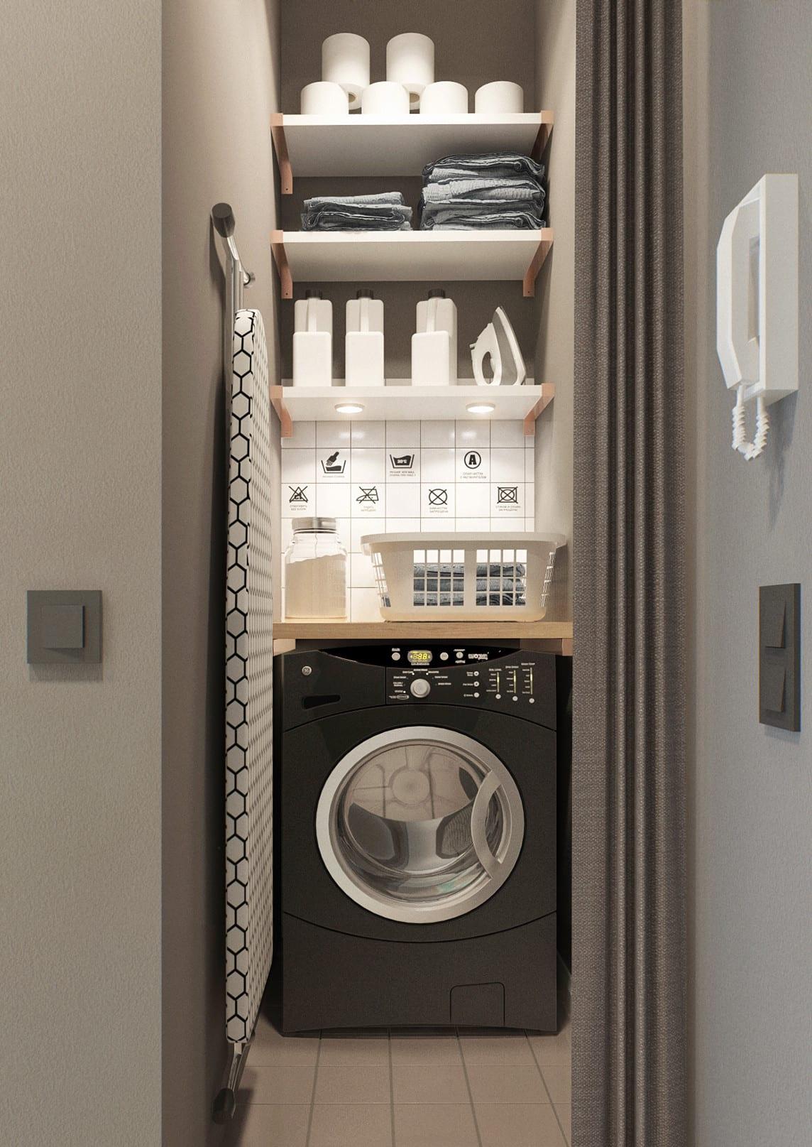 farbgestaltung flur mit wandfarbe grau und platzsparende idee für kleinen waschraum mit gardiene und weißen wandregalen über waschmaschine schwarz