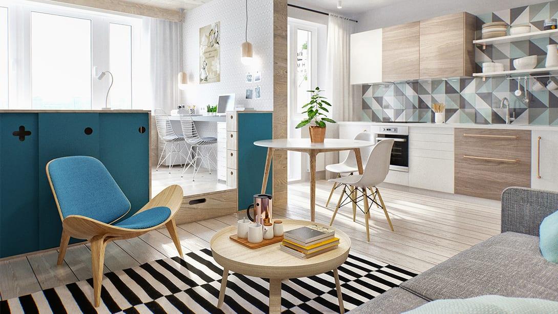 farbgestaltung ideen für kleines wohnzimmer mit holzfüßbodenbelag und holzregal mit blauen schiebetüren als raumteiler zwischen schlaf- und wohnbereich in Einraumwohnung