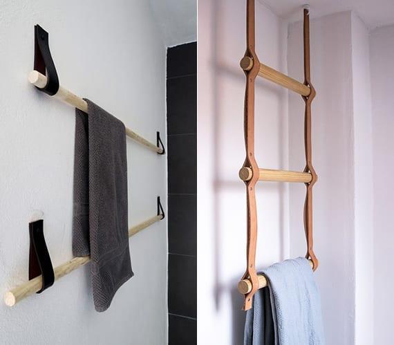 bad modern gestalten mit DIY Handtuchhalter aus Rundholzstab und Leder