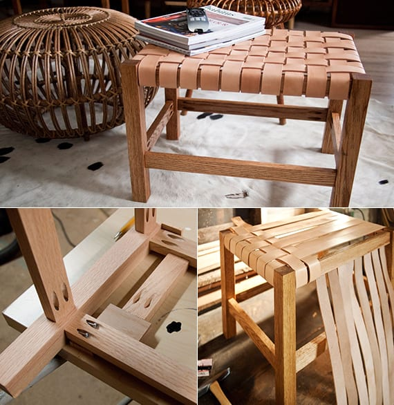 DIY Holzhocker mit Ledersitz