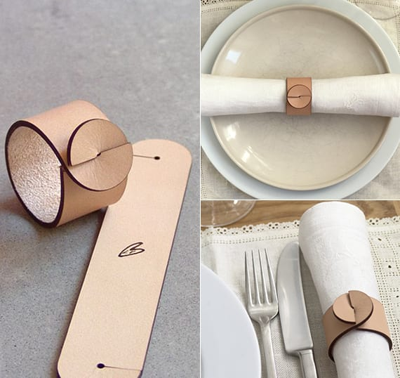 Idee zum tisch decken und servietten falten mit selbstgemachtem Lederring