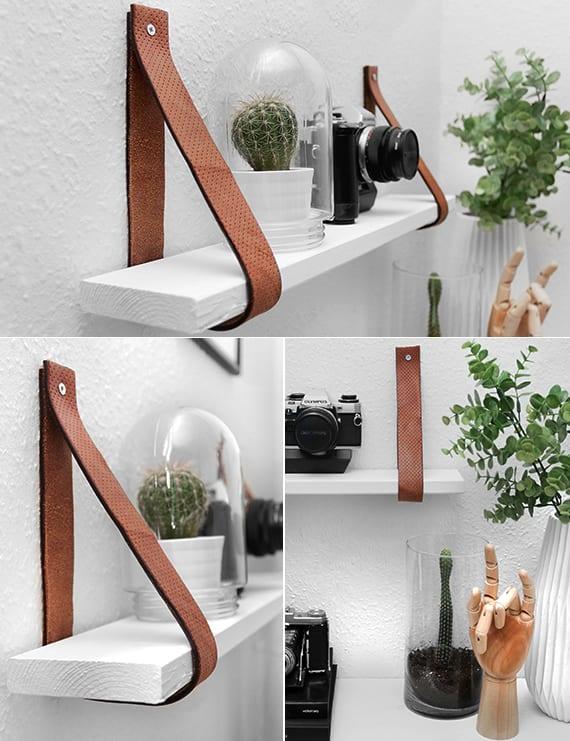 hänge-wandregal selber bauen aus holzund leder als inspiration für modernen Hängeregal weiß