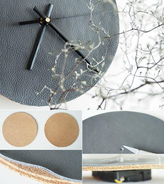 moderne wandgestaltung mit diy wanduhr aus leder grau und runden tischuntersetzern aus kork