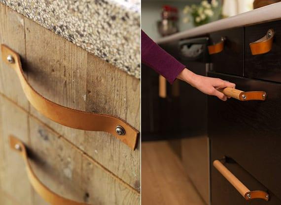 alte küchenschränke mit DIY Griffe aus Leder verschönern