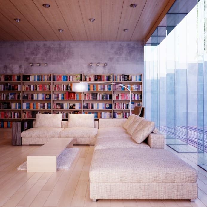 wohnzimmer design mit beton wand, holzdeckenverkleidung und raumhoher verglasung