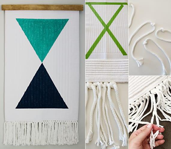 coole dekoideen mit diy wandbehang weiß mit blauen dreiecken als diy wanddekoration
