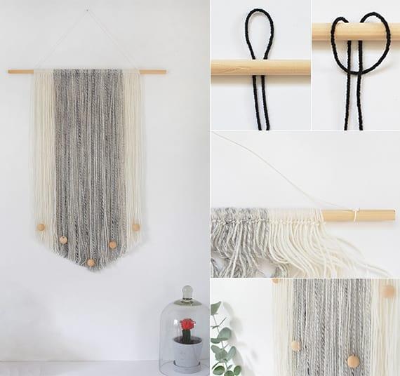 moderne dekoidee für Wohnzimmer und coole bastelidee für selbstgemachten wandbehang mit holzkugeln