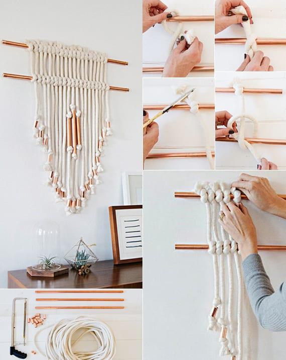 makramee einfach basteln mit kupfer_wand modern dekorieren mit diy wandbehang