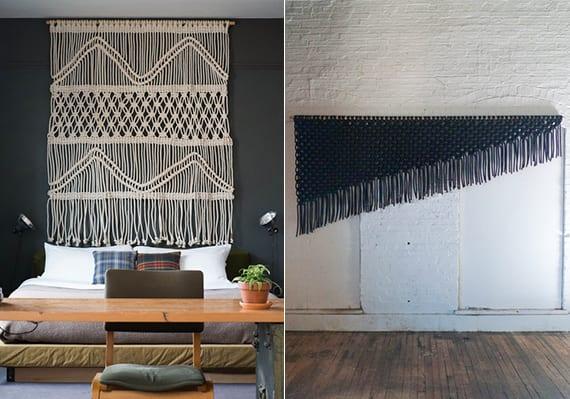 kreative und moderne wanddeko ideen für wohn- und schlafzimmer_schlafzimmer wandfarbe grau mit makramee in weiß dekorieren