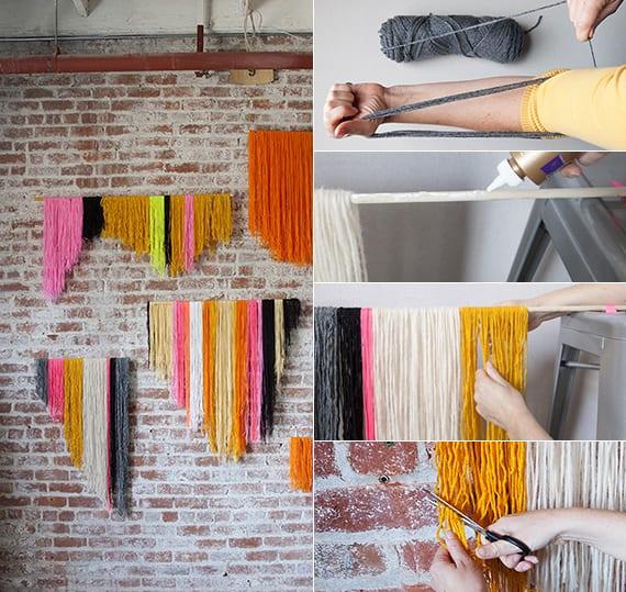 kreative und bunte wandgestaltung durch handarbeit_originelle dekoideen für DIY Wanddeko