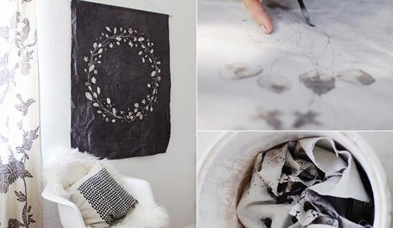 wandbehang deko selber machen wei e wand dekorieren mit diy wandtuch schwarz mit wei em kreis. Black Bedroom Furniture Sets. Home Design Ideas