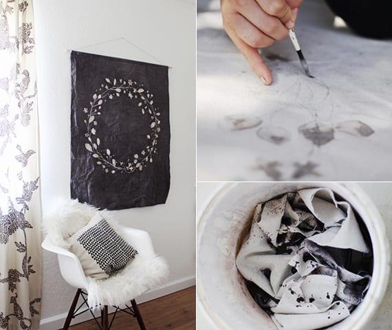 zimmer gestalten in schwarzweiß mit diy Wanddeko, weiße gardiene mit schwarzen blumen und armstuhl weiß mit holzbeinen und weißer dekokissen