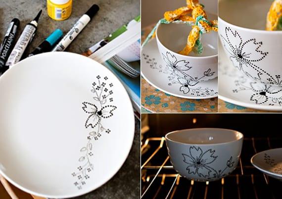 der tisch kreativ dekorieren mit weißen tellern mit schwarzen blumen_edles geschirr dekorieren mit punktmuster