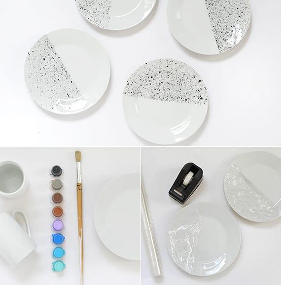 colle bastelideen für selbstgemaltes geschirr sett und originelle tischdekoration in weiß