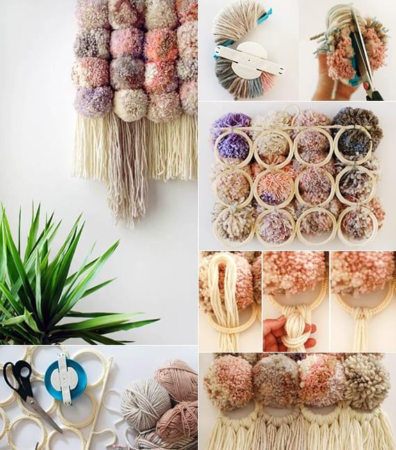 kreative wanddekoration zum selber basteln aus garn und ikea aufhänger