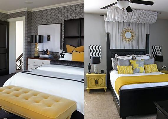 moderne schlafzimmer gestalten mit tapete grau oder wandfarbe grau_schwarzes bett mit lederkopfteil oder holzkopfteil schwarz