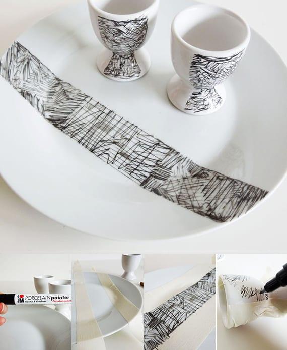weißer geschirr set aus tellern und eierbechern selber gestalten mit permanentmarker als geschenkidee und beispiel zum tisch decken