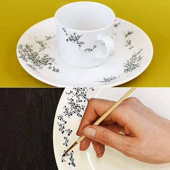 bastelidee für selbstgemachte designer teller und becher aus porzellan_originelle geschenkidee für selbstgemachte geschenke