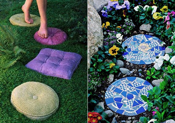 garten-trittsteine aus beton bunt färben für kreative gartengestaltung mit farbe