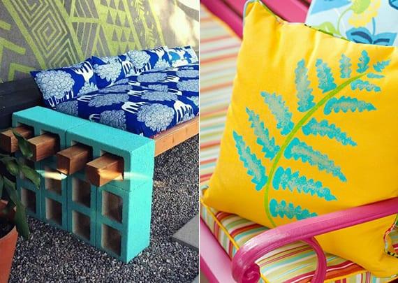 gartengestaltung mit diy gartenbank aus Kanthölzern und blauen lochsteinen_frische sommerfarben im garten