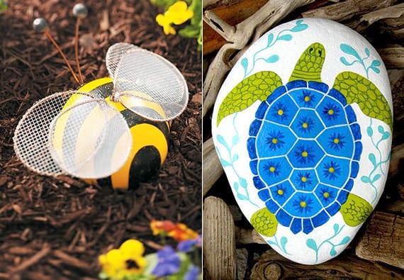 originelle gartendeko selber basteln mit steinen_DIY Biene-Deko aus ball und Sieb und coole Stein-Dekoidee mit Schildkröte