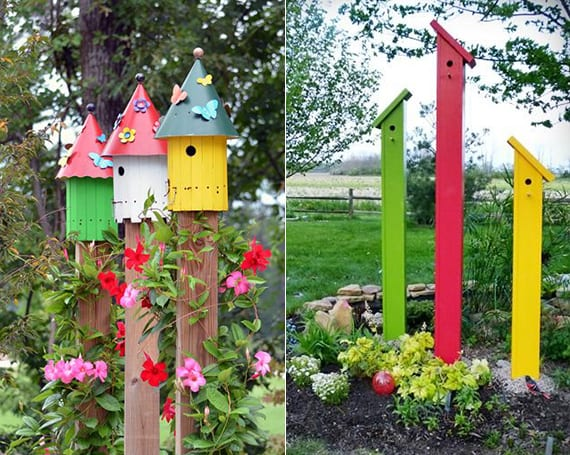 idee für bunte gartendeko mit Vogelhäusern aus holz als halter für kletterpflanzen